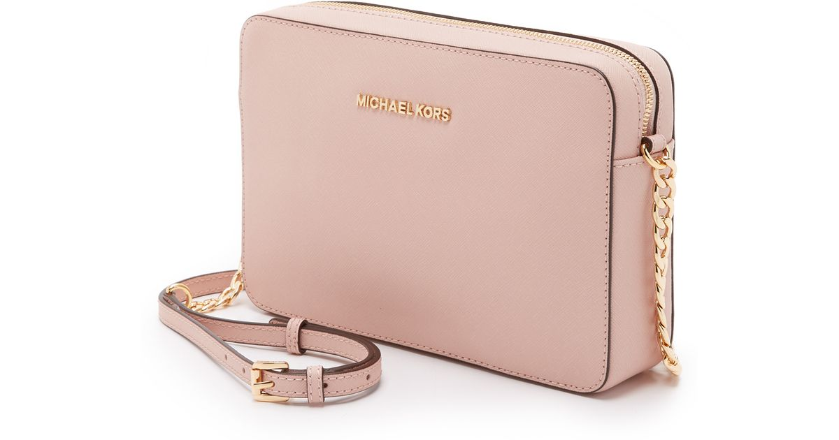 d6797af04301 MICHAEL Michael Kors Medium Jet Set Saffiano Leather Cross-Body Bag in Pink  - Lyst