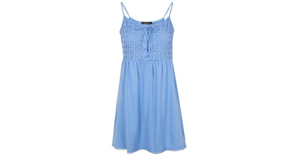 Lyst Topshop Petite Crochet Lace Sundress In Blue