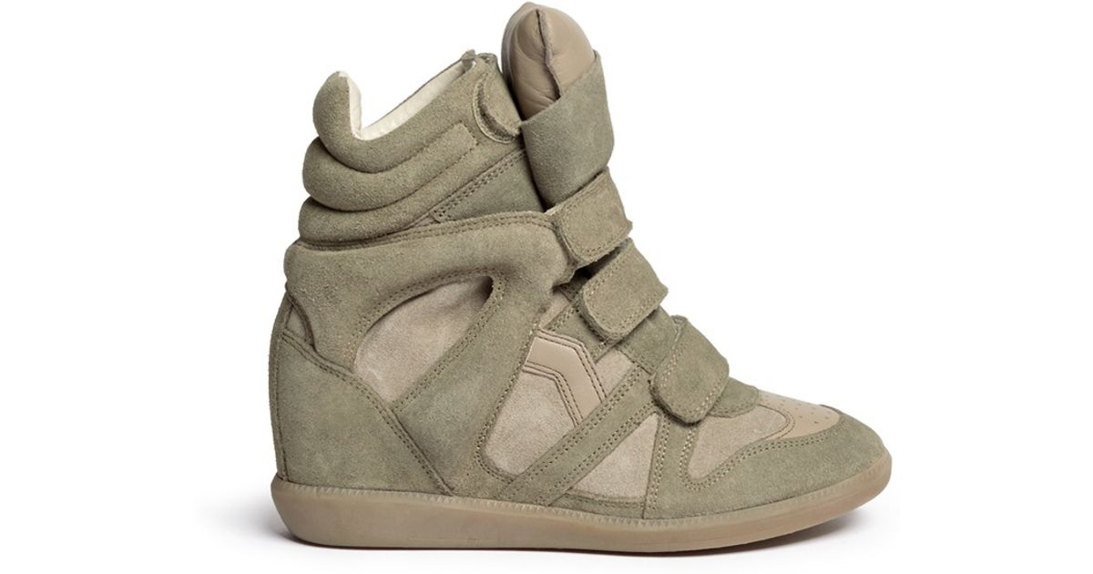 921fbe4a52 Étoile Isabel Marant Bekett Suede High-Top Wedge Sneakers in Green - Lyst
