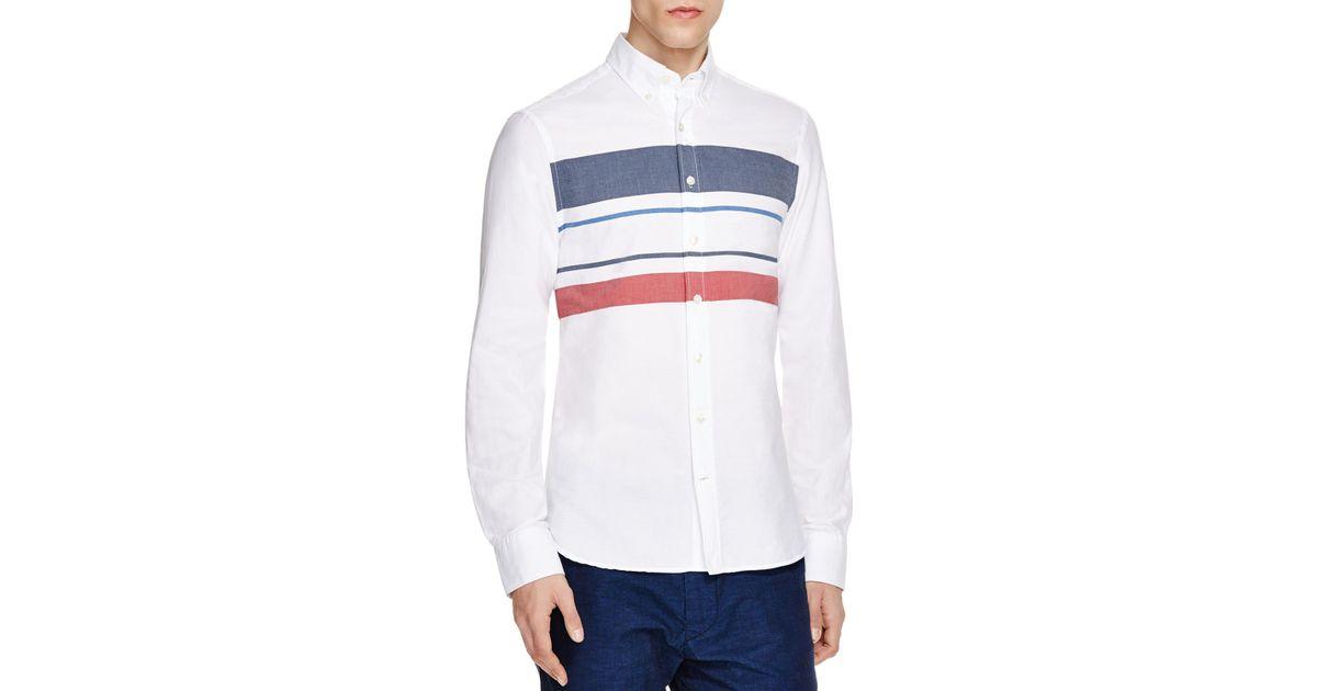 7f3ebfe057f Lyst - GANT Spinnaker Stripe Slim Fit Button Down Shirt in White for Men