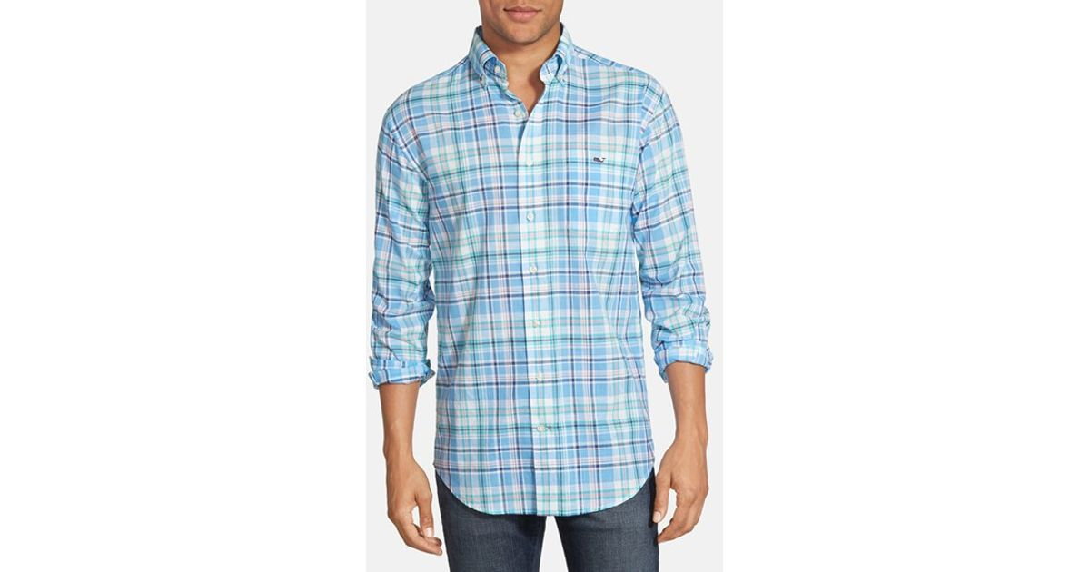 eb7a8e14d Vineyard Vines 'greenhill Plaid - Tucker' Classic Fit Sport Shirt in Blue  for Men - Lyst