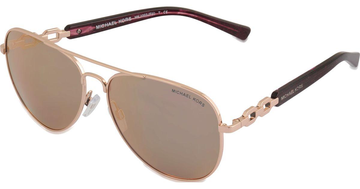Lyst - Michael Michael Kors Fiji Rose Gold Sunglasses Mk1003 in Metallic