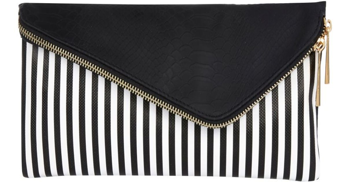 Lyst River Island Black And White Stripe Asymmetric Clutch Bag In