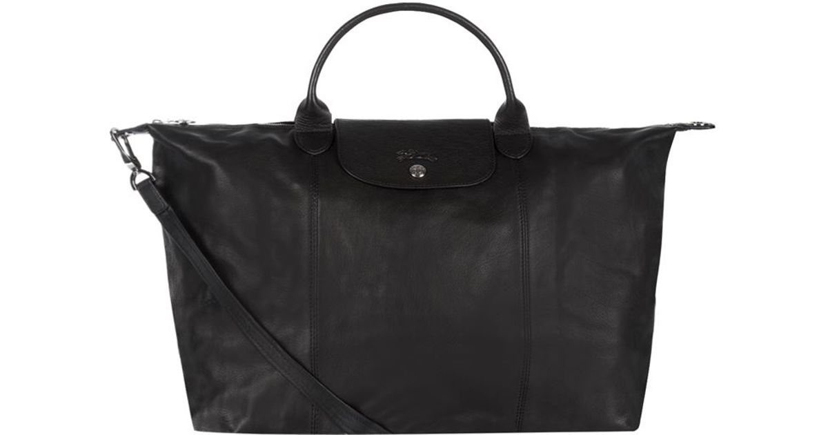 Longchamp Le Pliage Cuir Large Handbag in Black - Lyst b46ce9169a7b3