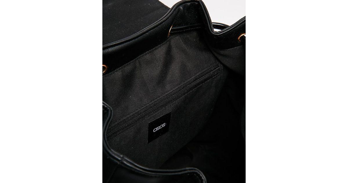 asos smart backpack with metal frame detail in black lyst