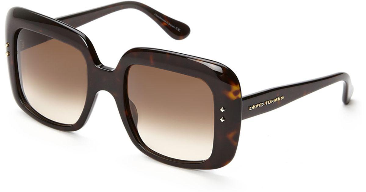 14ee8518f2 Lyst David Yurman Black Printed Xl Square Sunglasses In Brown