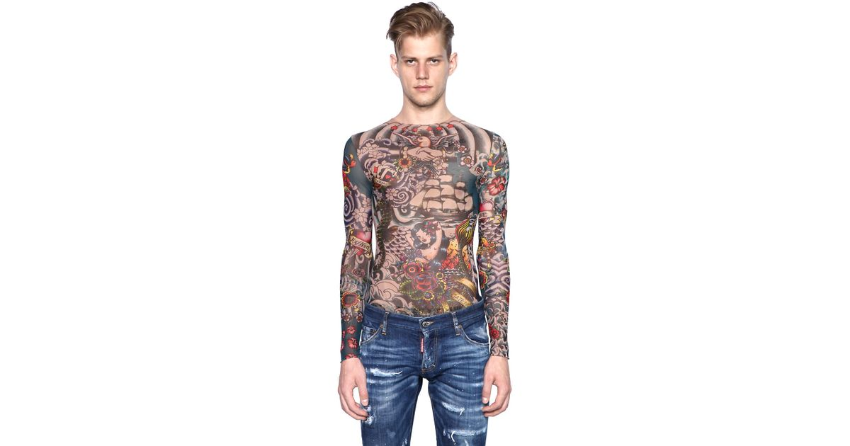Dsquared tattoo printed sheer long sleeve t shirt in for Tattoo shirts long sleeve