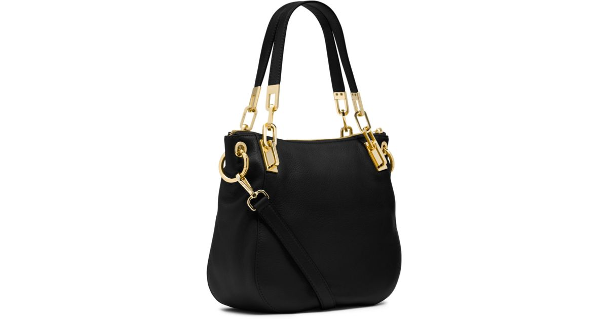 lyst michael kors brooke leather medium shoulder bag in black rh lyst com  michael kors brooke shoulder bag