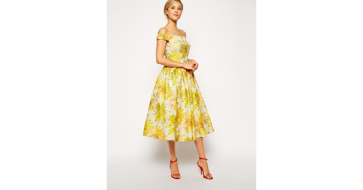 ef969f3fc67 ASOS Sunflower Bardot Midi Prom Dress in Yellow - Lyst