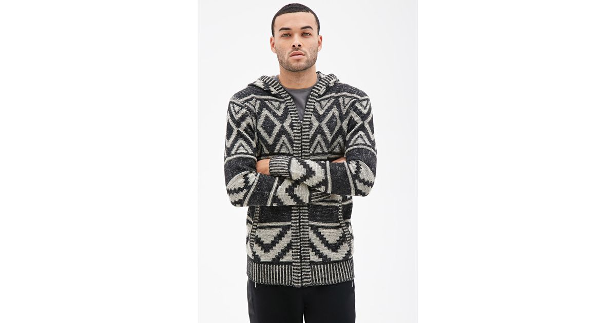 Knitting Pattern Hoodie Mens : Forever 21 Geo Pattern Knit Hoodie in Black for Men (Black ...