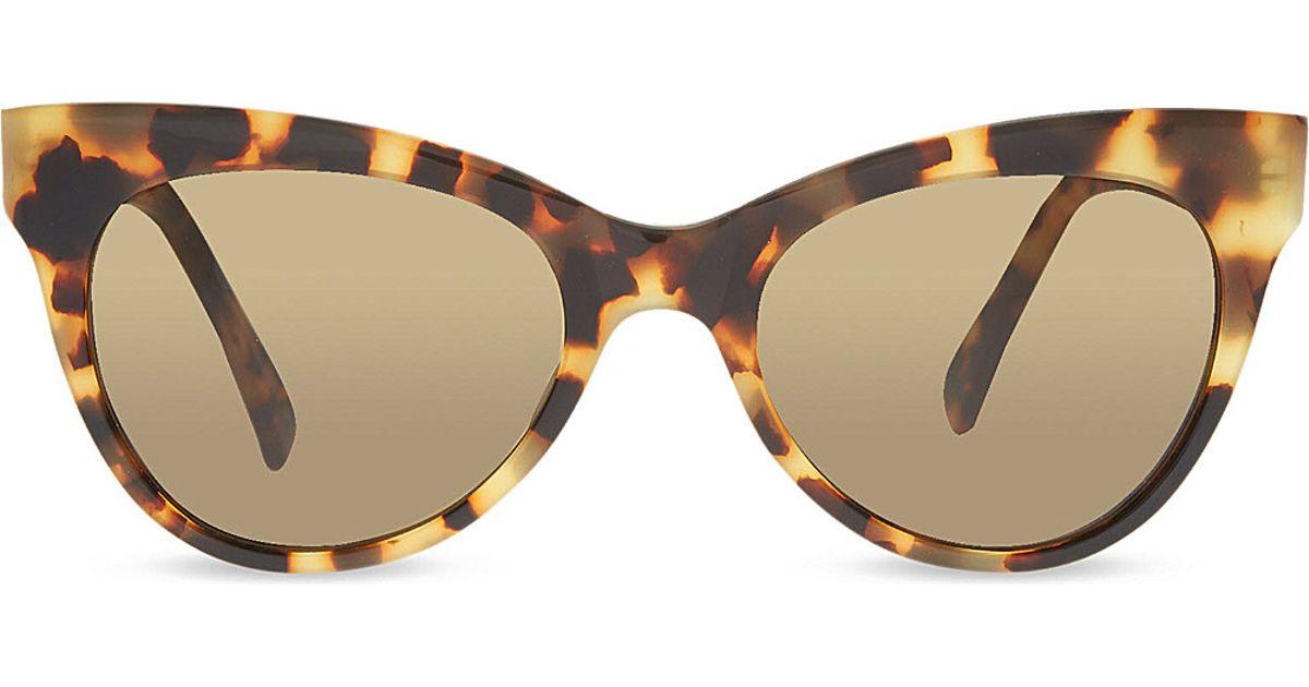 c028f4b04a96 Norma Kamali Tortoise Shell Cat Eye Sunglasses Tokyo Tort in Brown - Lyst