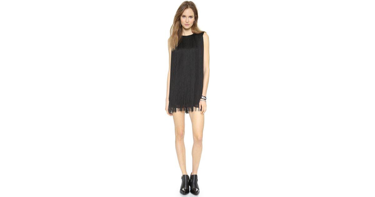 e239ccaec4bb Rachel Zoe The Clove Fringe Dress - Black in Black - Lyst