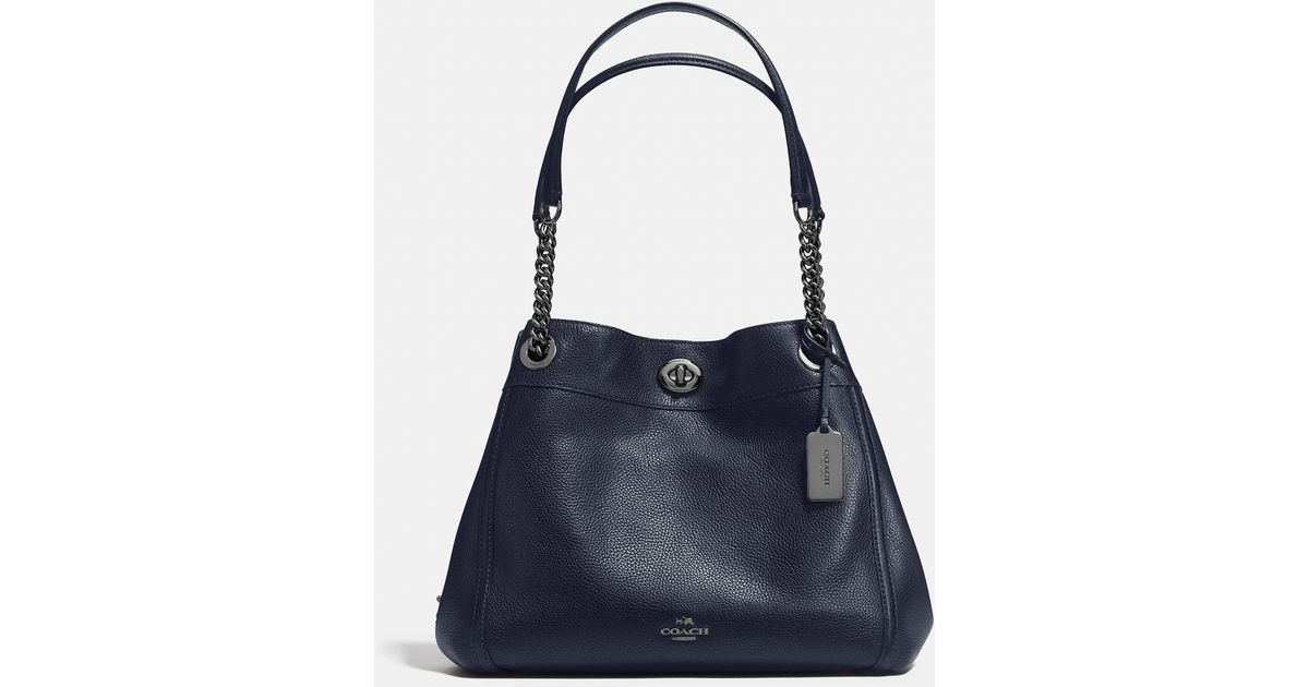 Coach Turnlock Edie Shoulder Bag In Polished Pebble Leather in Black  449cdcc521321