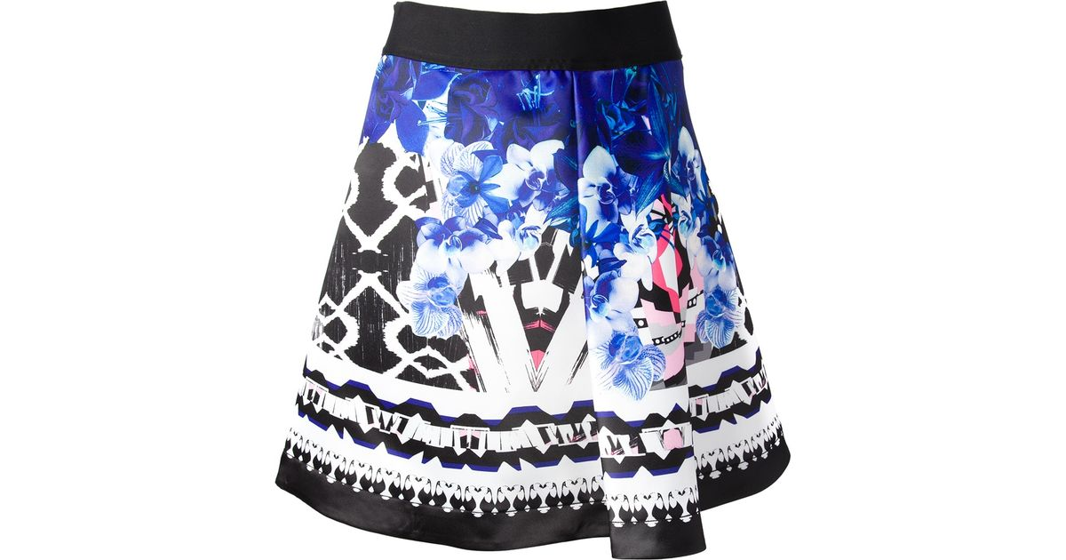 Pinko Floral Print A-line Skirt in Black   Lyst