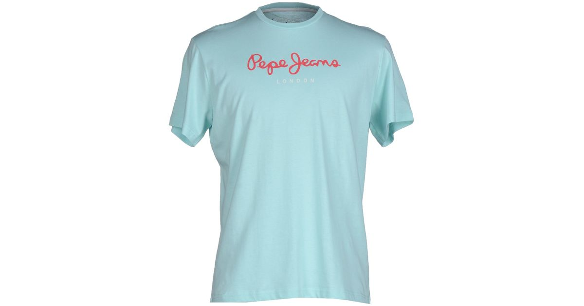 pepe jeans t shirt in blue for men sky blue lyst. Black Bedroom Furniture Sets. Home Design Ideas