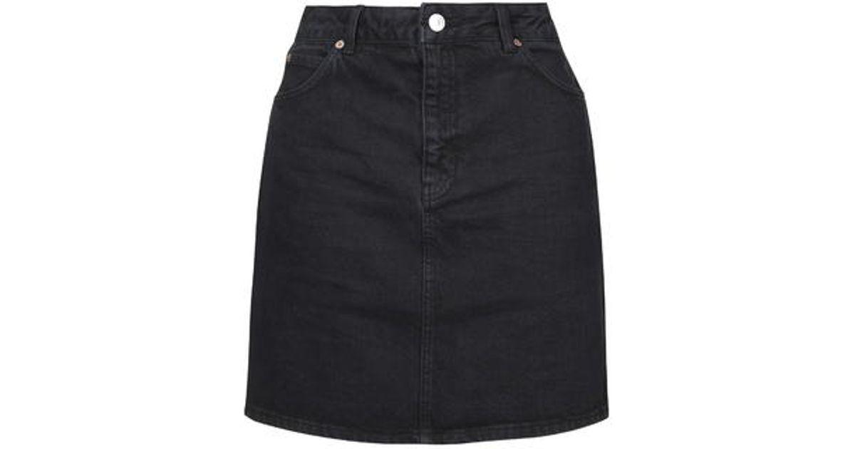 7af0251d22 TOPSHOP Moto High-waisted Denim Skirt in Black - Lyst