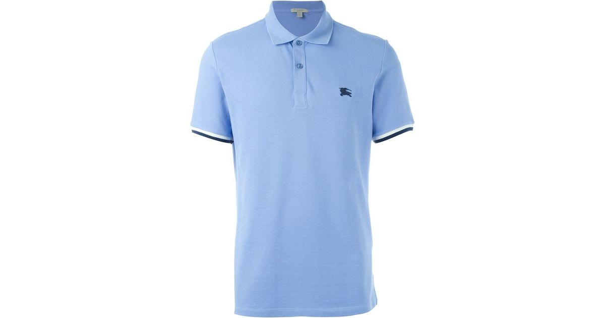 Lyst Burberry Embroidered Logo Polo Shirt In Blue For Men