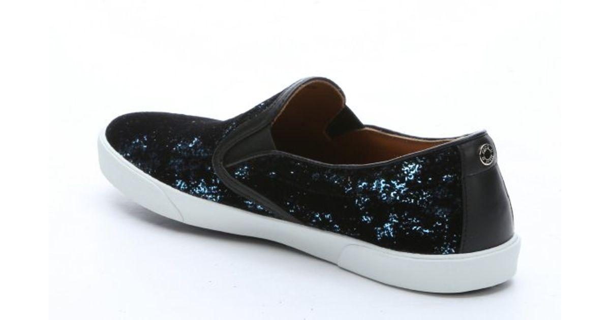 e6e1a1b4cce Lyst - Jimmy Choo Blue And Black Velvet Flocked  demi  Slip On Sneakers in  Blue