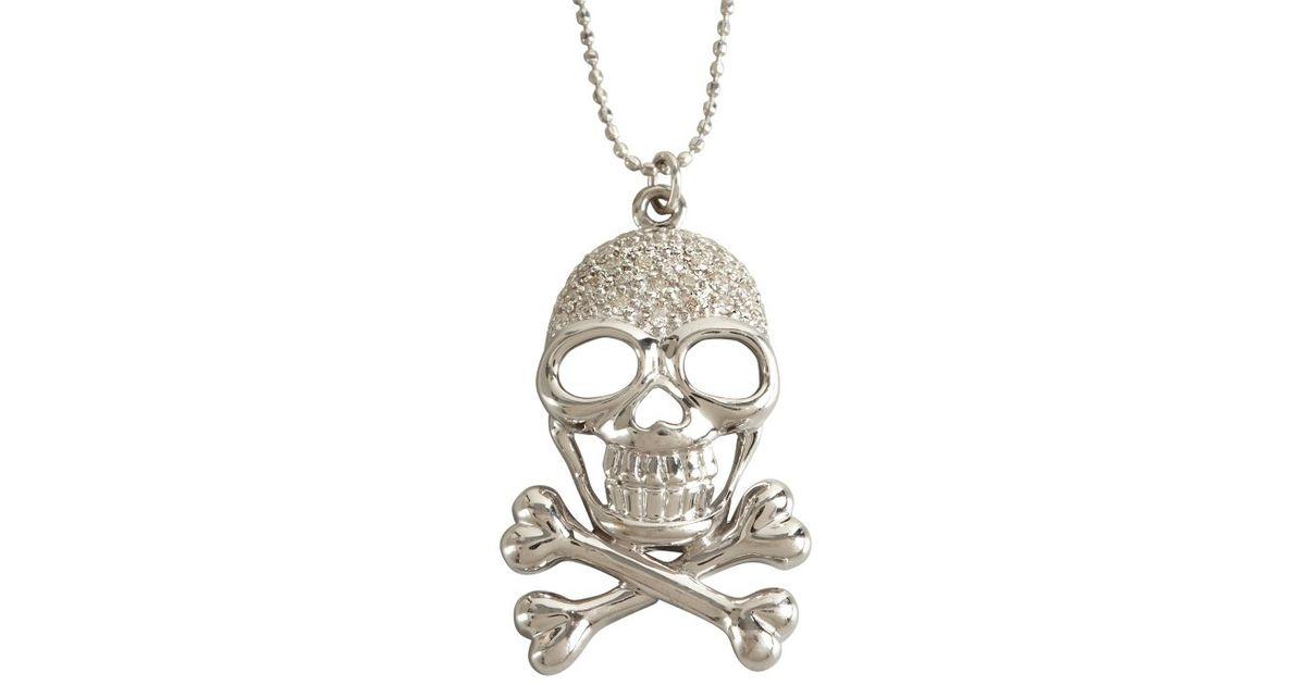 Lyst sydney evan white gold and diamond skull and crossbone lyst sydney evan white gold and diamond skull and crossbone pendant necklace in metallic aloadofball Gallery