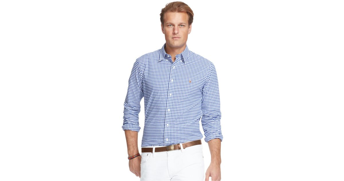 Polo ralph lauren men 39 s big and tall stretch oxford shirt for Stretch polo shirt mens