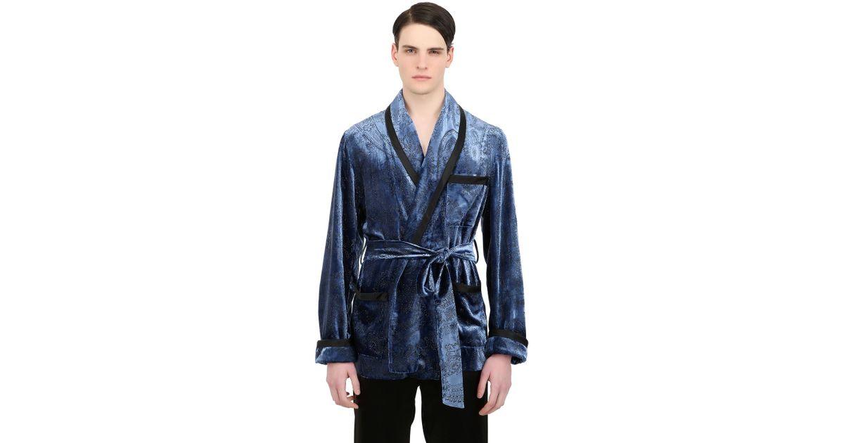 modern design discount price get cheap Loretta Caponi Blue Handmade Short Viscose Velvet Robe for men