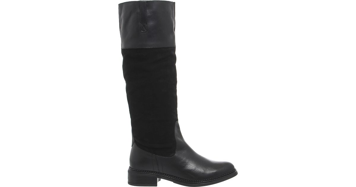 office emmett casual suede knee boots in black lyst