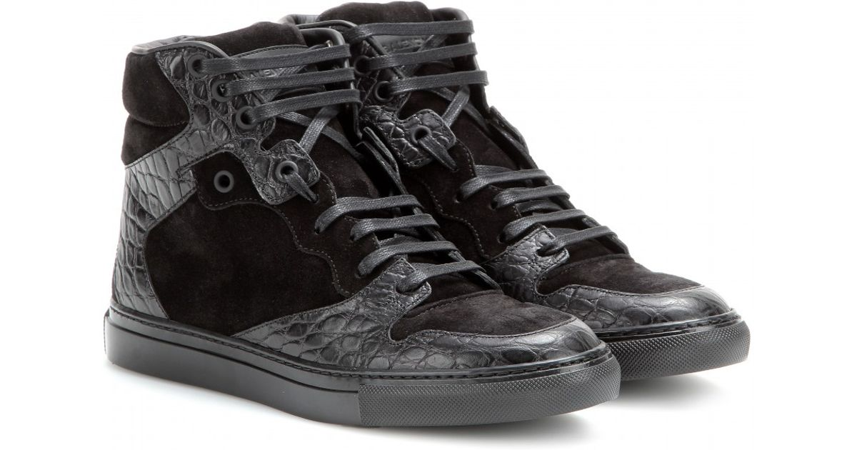 Lyst - Balenciaga Leather And Suede High-Top Sneakers in Black 8da767118