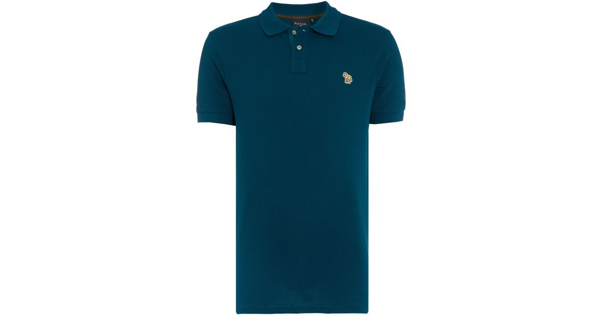Paul smith regular fit zebra logo polo shirt in teal for for Mens teal polo shirt