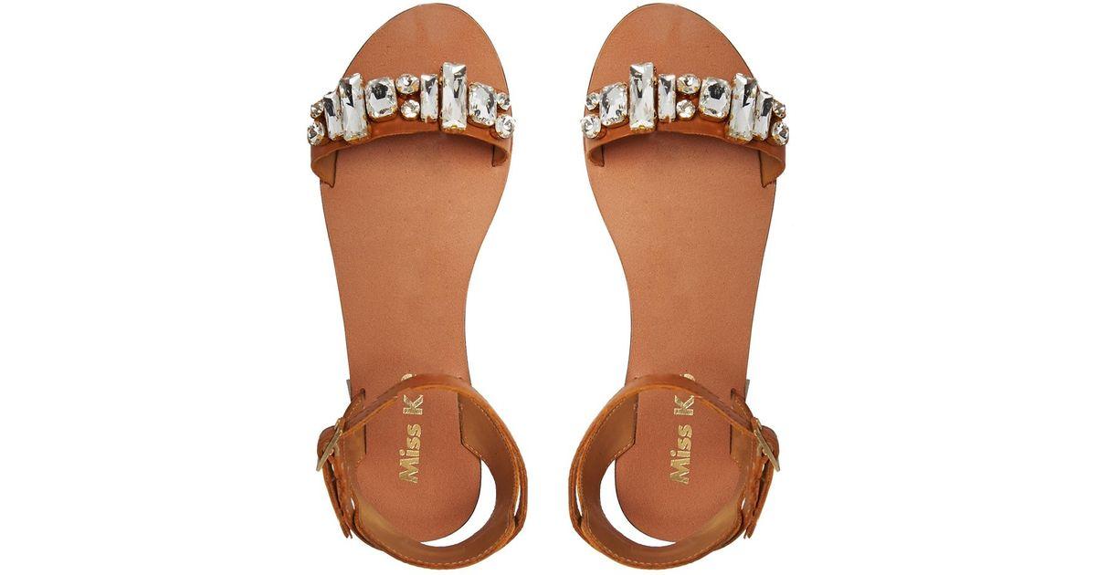 e2dcf5036ace37 Lyst - Miss Kg Debbie Leather Jeweled Flat Sandals