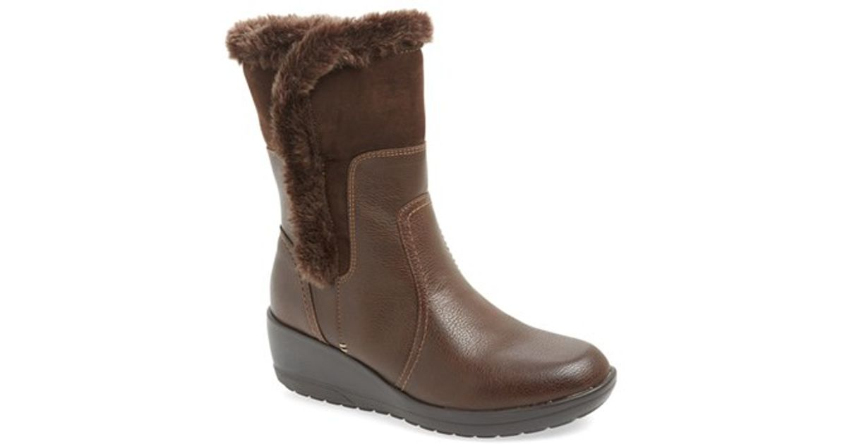softspots corby waterproof wedge boot in brown lyst