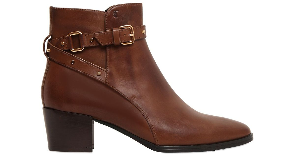 tod s 60mm studded leather ankle boots in brown lyst