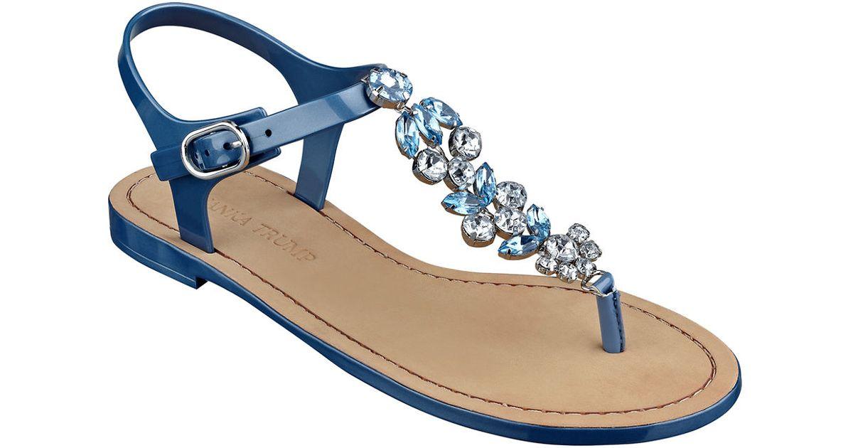a5d1b3454e26ab Lyst - Ivanka Trump Areya Jeweled T-strap Sandals in Blue