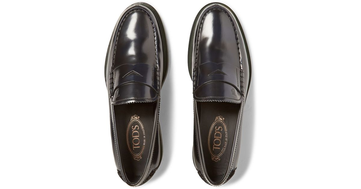 6412c58586e Tod s Polished-Leather Penny Loafers in Black for Men - Lyst