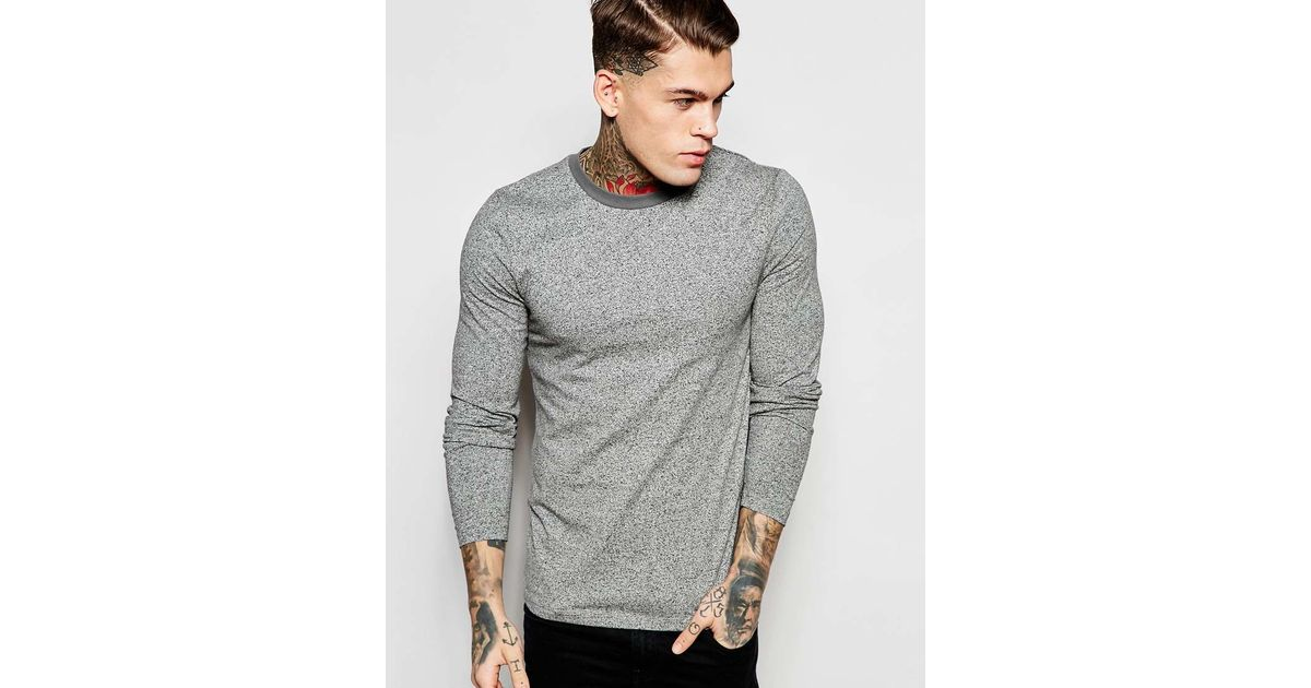 Lyst - Asos Twisted Yarn Muscle Long Sleeve T-shirt With Contrast Neck Trim  in Gray for Men