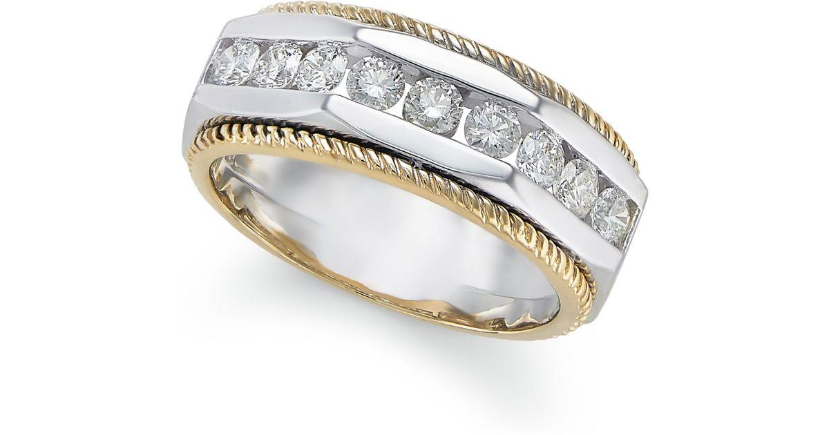 Macy s Certified Men s Diamond Two tone Ring 1 Ct T w In 14k Gold