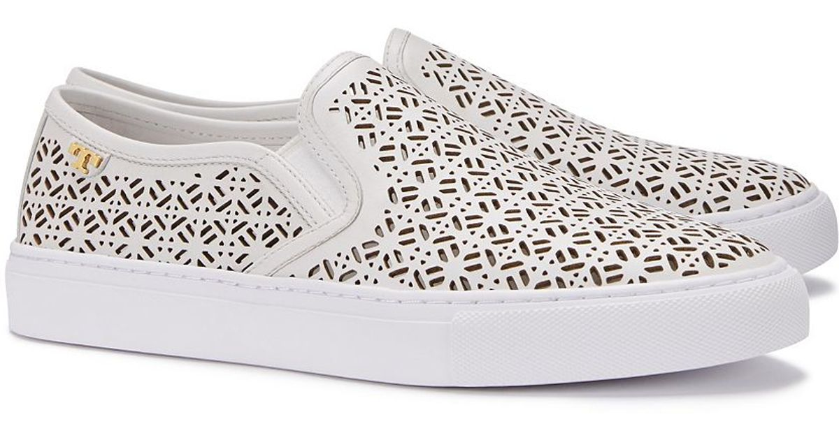 7fdb53f6532 Lyst - Tory Burch Lennon Perforated Slip-on Sneaker in White