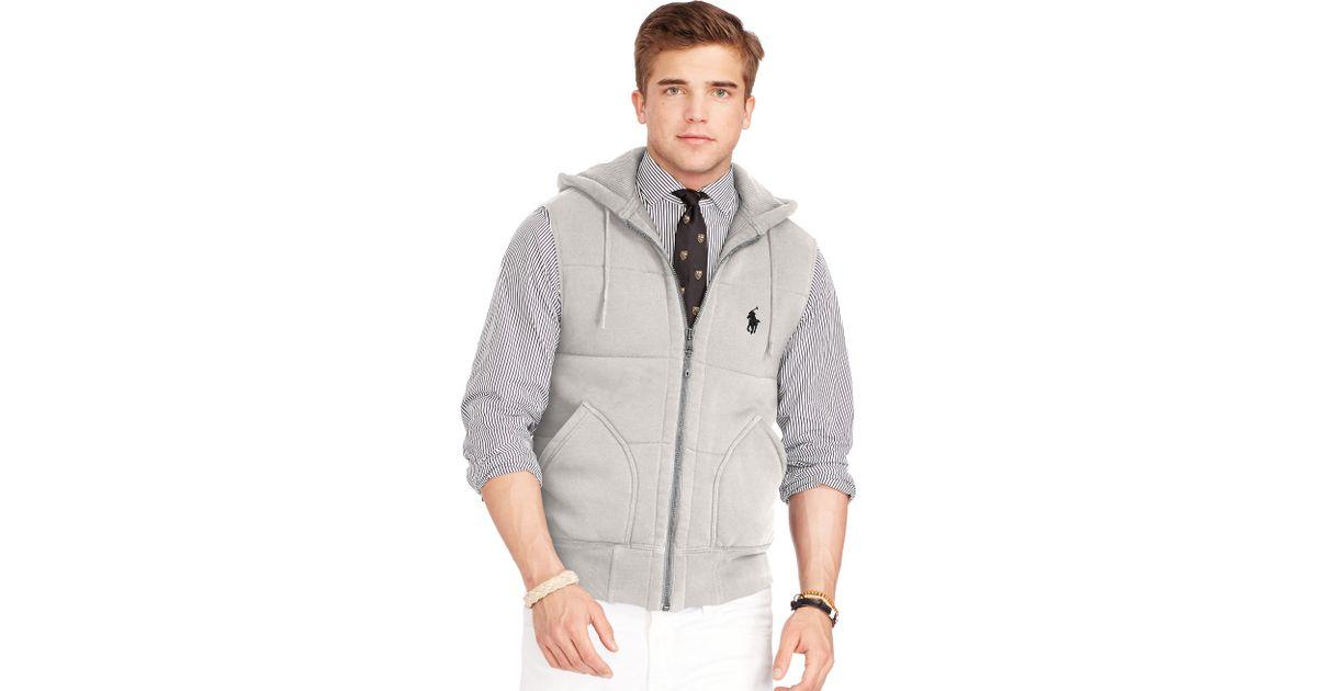 Polo Ralph Lauren Fleece Vest In Gray For Men Lyst