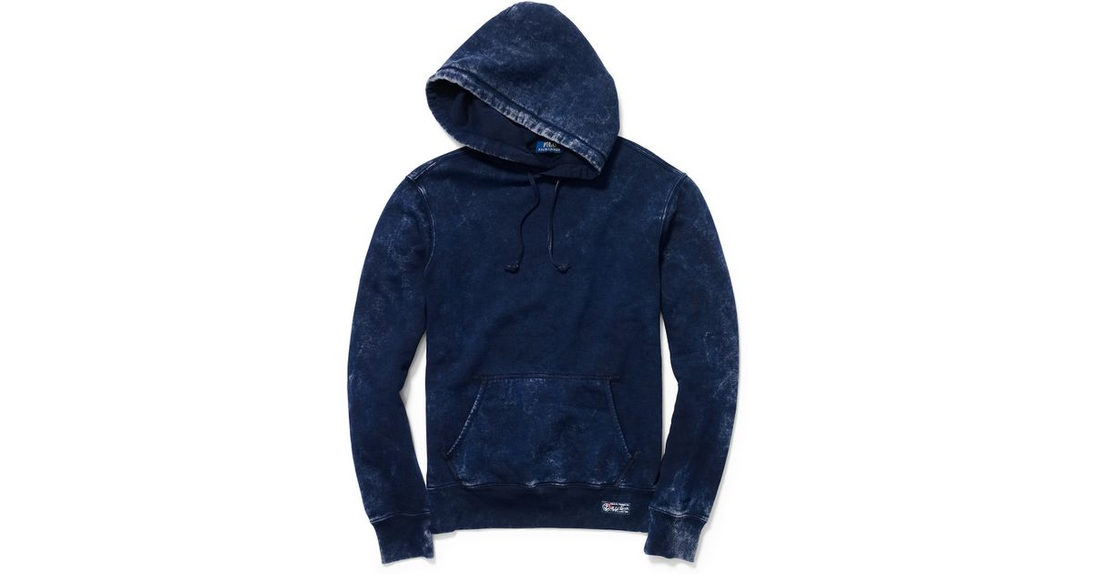 Polo Ralph Lauren Weathered Fleece Hoodie Blue