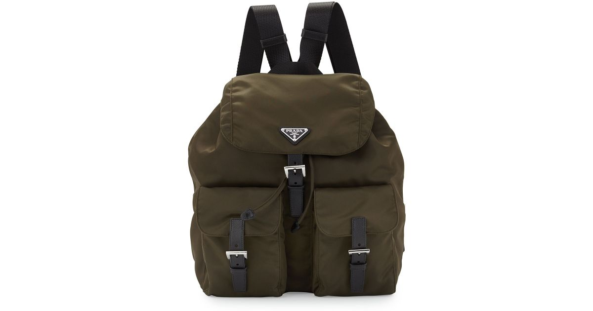 45e8fd4747 ... bag day pack 46f6a 10949  official store lyst prada vela medium  backpack in green 61063 286ee