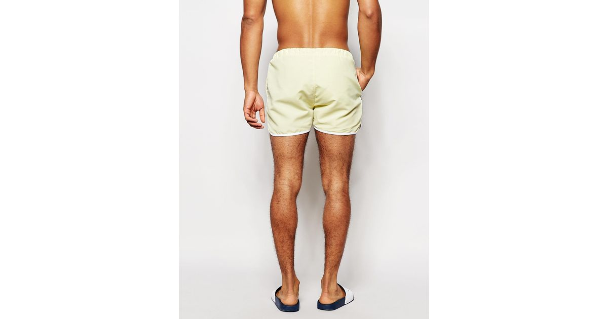 6dda0ca9b9 Ellesse Swim Shorts With Taping Exclusive To Asos in Yellow for Men - Lyst