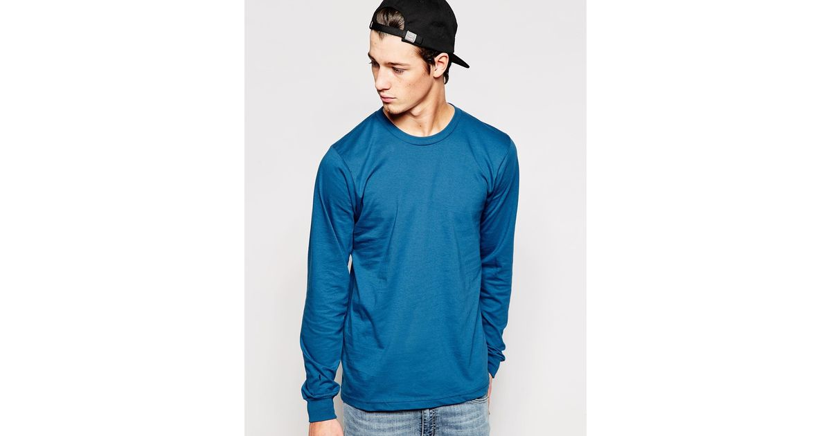 24458274dc Lyst - American Apparel Organic Fine Jersey Long Sleeve T-shirt in Blue for  Men
