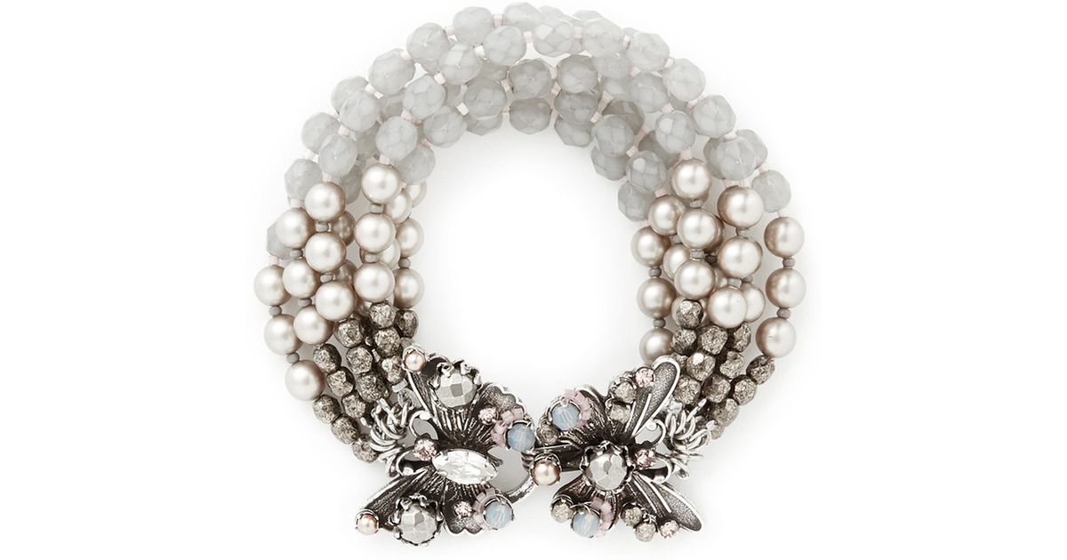 Lyst Miriam Haskell Butterfly Clasp Multi Strand Pearl Bracelet In