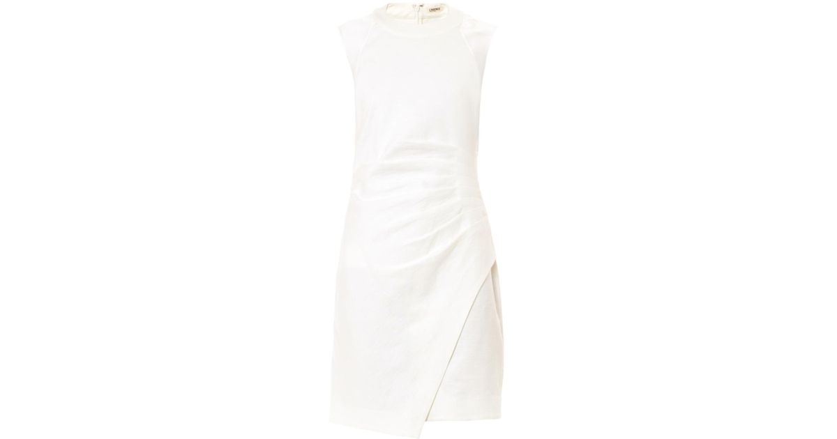 13011f23 Lyst - L'Agence Cotton And Linen-Blend Dress in White