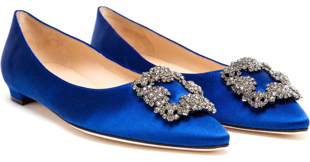 ffd44df84aca Manolo Blahnik Hangisi Embellished Satin Flats in Blue - Lyst