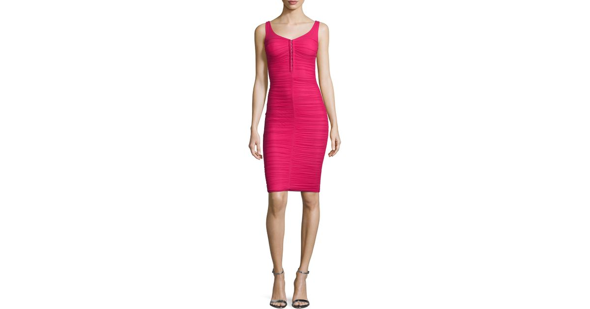 83e02aac733 Lyst - La Petite Robe Di Chiara Boni Fenice Sleeveless Ruched Cocktail Dress  in Pink