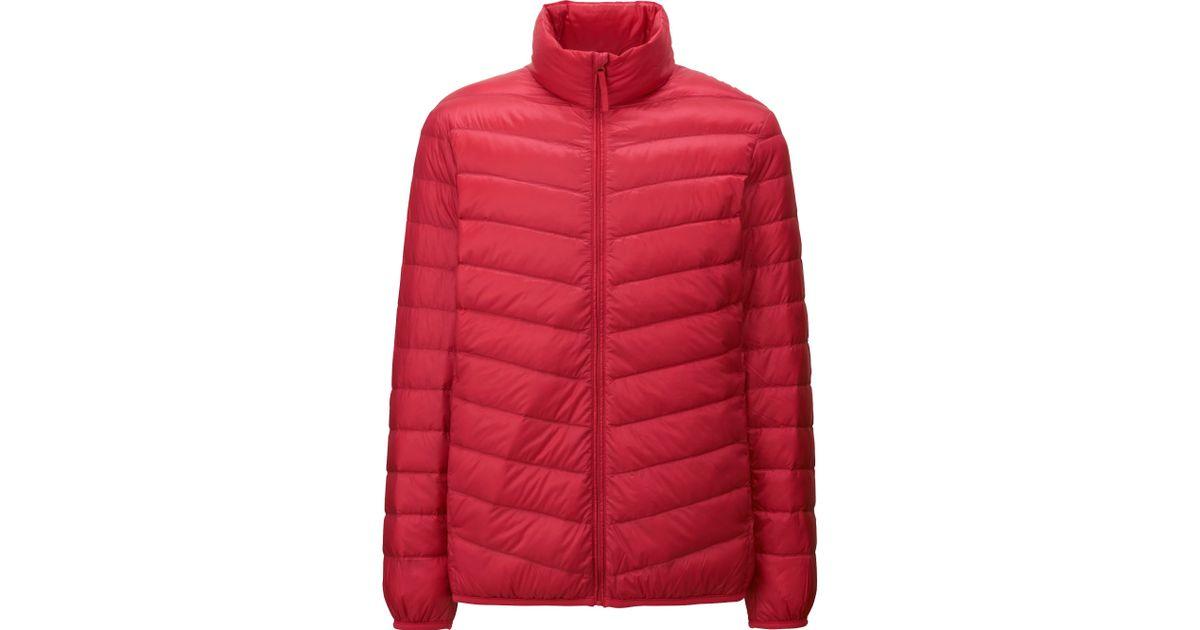 uniqlo men ultra light down jacket in red for men lyst. Black Bedroom Furniture Sets. Home Design Ideas
