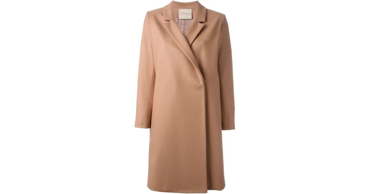 Erika cavallini semi couture Notched Lapel Coat in Pink | Lyst