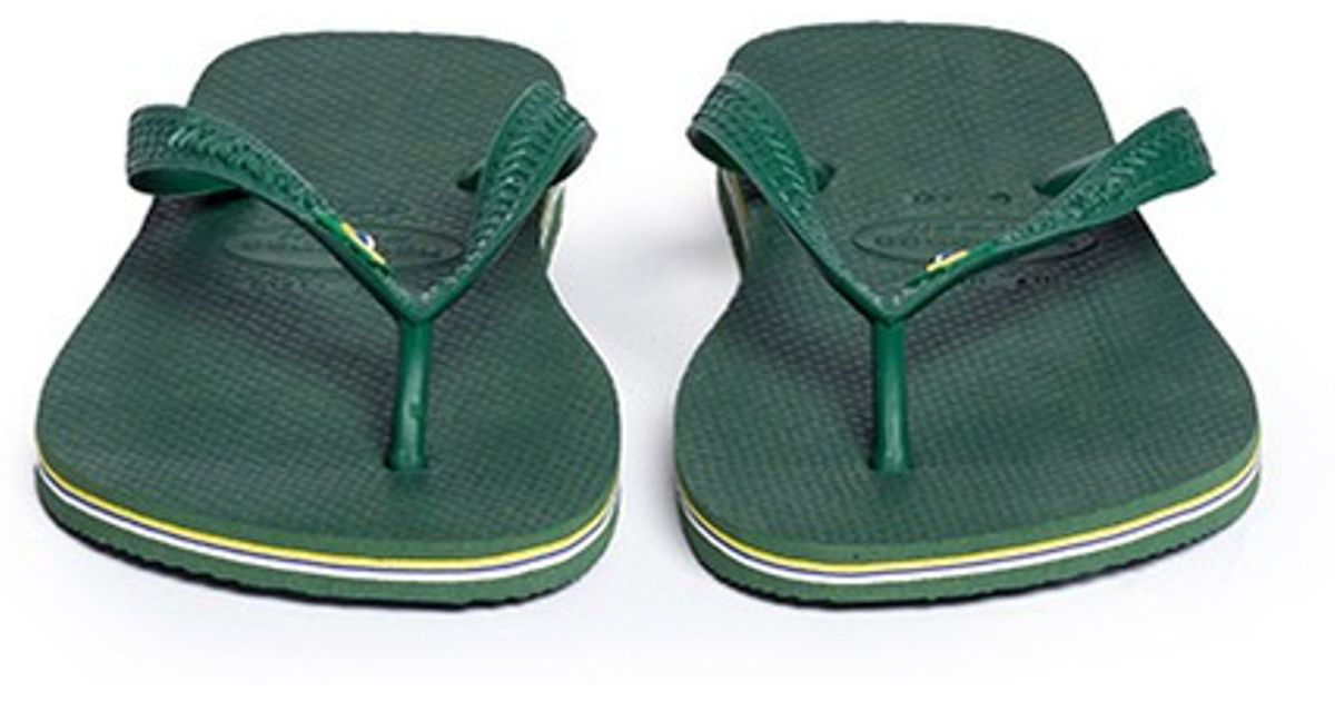 18a4152d1ef Havaianas Brazilian Flag Logo Flip Flops in Green for Men - Lyst
