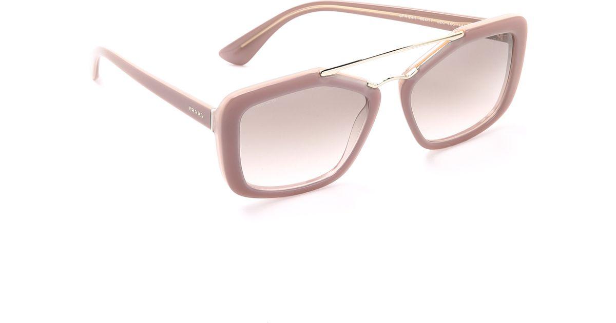 8d1daa8ca89b3 Prada Catwalk Aviator Sunglasses - Havana light Brown Gradient in Natural -  Lyst