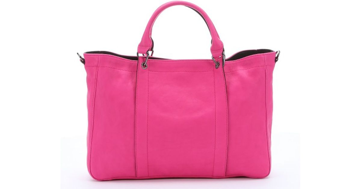 Longchamp Hot Pink Leather '3d' Convertible Tote in Pink | Lyst